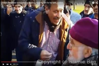 Christan Pensioner surrounded by Muslims mocking him for his faith, London